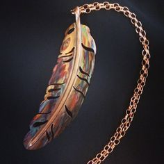 feather pendant, feather necklace, feather jewelry, flame painted... ($50) ❤ liked on Polyvore featuring jewelry, pendants, charm pendant, feather jewelry, pendant jewelry, feather pendant and copper pendant jewelry