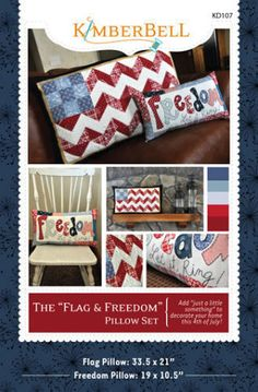 The Flag and Freedom Pillow Set - 4th of July Pillow Patterns | YouCanMakeThis.com