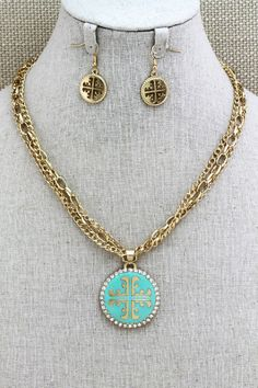 ISIS Coptic Cross Turquoise Pendant Statement by leeleeaccessories, $20.00