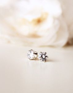 Sterling Silver Stud Earrings Simple Earrings Delicate Cubic Zirconia Studs Gift for her everyday Jewelry Bridesmaid Gift