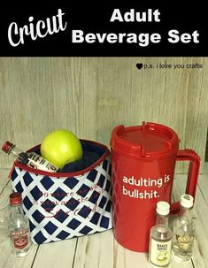 Make this adult beverage set using the Cricut Explore or Cricut Maker. It's perfect for the adult who's having a bad day. Decor Crafts, Home Crafts, Diy Crafts, Cricut Cards, Cricut Vinyl, Cool Diy Projects, Vinyl Projects, Adult Crafts, Crafts For Kids