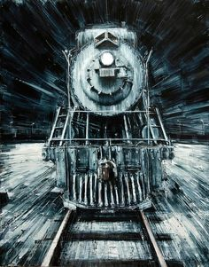 """""""The Night Train"""" 2013, oil on panel    - Valerio D'Ospina"""