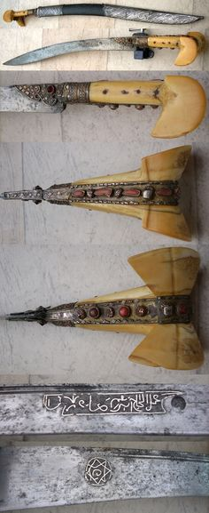 Ottoman yatahan / yataghan sword, Balkan origin. Classical shaped blade decorated with silver koftgari inlay. Walrus Ivory grips with big pommel ears. silver plated grip strap and bolsters, set with ribbed coral stones and red stone on the bolsters. Scabbard with steel fittings..