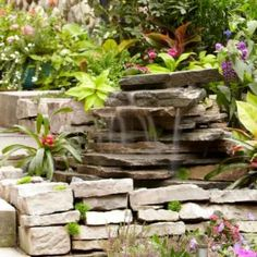 Build this attractive backyard waterfall in less than a day. It& simple to build and you can easily customize the waterfall to fit with the materials and decor of your backyard or patio. Small Backyard Ponds, Backyard Water Feature, Backyard Landscaping, Landscaping Ideas, Diy Waterfall, Garden Waterfall, Waterfall Fountain, Outdoor Water Features, Water Features In The Garden