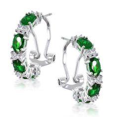 Bling Jewelry Emerald Color CZ Omega Half Hoop Earrings