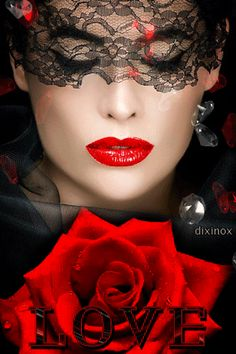 Gif Amour, Coeur Source by Animiertes Gif, Beautiful Mask, Cool Halloween Costumes, Shades Of Red, Red Lips, Color Splash, Lady In Red, Red Roses, Portrait Photography