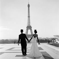 "Rodney Smith's whimsical work invited comparisons to the Belgian surrealist Rene Magritte. ""Wessel and Mira holding hands in front of the Eiffel Tower, Paris, Rodney Smith, All Rights Reserved Oh Paris, Paris Love, Paris France, Beautiful Paris, Paris City, Simply Beautiful, Paris Wedding, Dream Wedding, Wedding White"