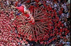 Barcelona Traditional human towers: castells