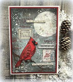 Tim Holtz Dies, Tim Holtz Stamps, White Gouache, Distress Markers, Simon Says Stamp Blog, Little Birdie, Bird Cards, Christmas Stickers, Winter Cards