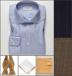 SHIRT/TIE COMBO: John Henric(Shirt)-King Kravate(Bowtie)-Todd Snyder(White w/Orange Trim Pocket Square Option)-John Henric(Orange Pocket Square Option)-Suggested Suit Colors(Blue With Gold Stripes & Brown Plaid)