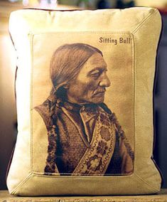Sitting Bull Indian Leather Pillow Sitting Bull, Native American Indians, American Flag, Red Crow, Skull Pillow, Den Decor, Bull Skulls, Rustic Bedding, Western Furniture