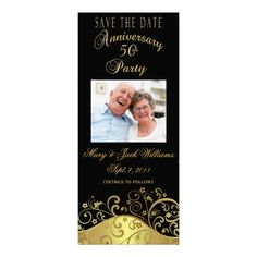 Anniversary Save the Date Photo Card Invite Insert your own pictures and text to easily personalize this gorgeous, elegant save the date card. This invite/card perfectly coordinates with one of our best selling Anniversary Party Invitations. 50th Wedding Anniversary Invitations, Save The Date Invitations, Anniversary Parties, 50th Anniversary, Invitation Cards, Invite, Photo Invitations, Gold Save The Dates, Save The Date Photos