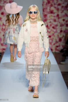 A model walks the runway at Monnalisa Fashion Show during Pitti Bimbo 84 on June 23, 2016 in Florence, Italy.