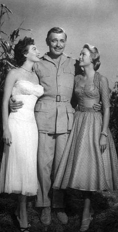 Ava Gardner, Clark Gable and Grace Kelly in 'Mogambo', 1953.