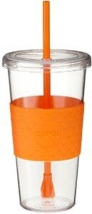 Copco Sierra 24-Ounce Cold Tumbler, Orange by Copco. $6.02. Reusable straw stays put and keeps drinks perfectly mixed. Dishwasher safe; hand washing recommended. Durable BPA free construction; stylish textured non-slip grip in orange for easy carrying. 24-ounce cold beverage tumbler in classic iced coffee cup design; great for everyday use. Quarter-turn lid sealing mechanism. The Sierra Tumbler focuses on the eco conscious cold beverage consumer with an iconic shape that i...