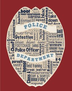 """Original artwork using words to describe """"POLICE DEPARTMENT"""" -- Dress up your home or office with this fun print that details the many words for all things related to our men and women in blue. To have a distinction from other subway art my goal is to showcase at least 50 words (though often times this can be over 100) without repeating except with common words like cook versus cookbook.   Come visit the Lexicon Delight Etsy store!"""