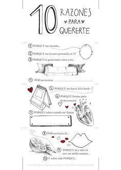 10 razones para quererte. Imprimible gratuito para regalar a tu pareja. http://sorpresasparatupareja.com/2016/01/19/10-razones-para-quererte/