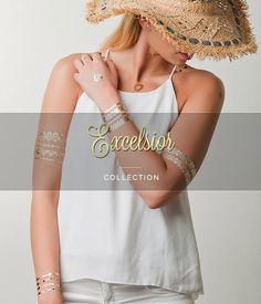 Wundertats - Stylish Metallic Tattoo Jewellery Excelsior Collection 3 sheets with over 25 different designs £10.00 FREE Delivery within the UK FREE Shipping over £40.00