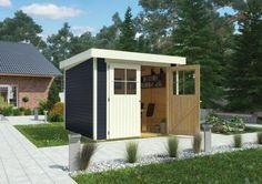 Gerätehaus KARIBU LIMBURG Holz Haus Bausatz Gartenhaus Flachdach - Schaffen Sie Platz für Gartenmöbel, Rasenmäher und vieles mehr!