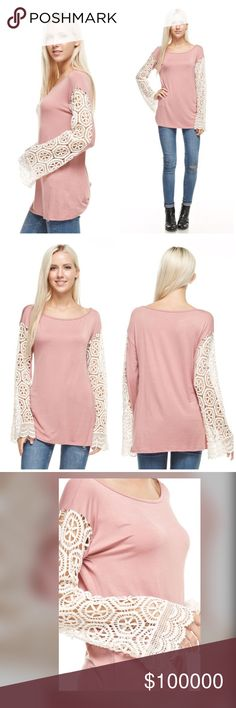 Beautiful dusty rose and crochet top Chic, on trend color with intricate crochet bell sleeves  Tops