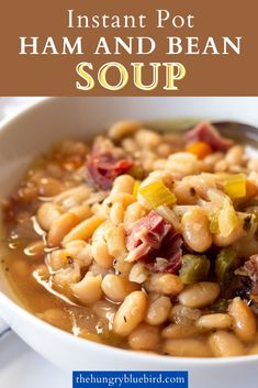Ham And Beans, Ham And Bean Soup, Ham Soup, White Bean Soup, White Bean Recipes, Bean Soup Recipes, Chicken Soup Recipes, Pressure Cooker Beans, Pressure Cooker Recipes
