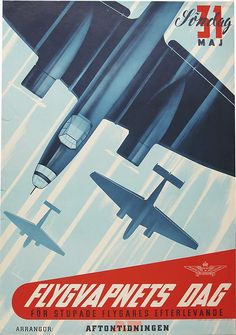 Swedish airforce publicity poster (1942) by Anders Beckman, from the Swedish National Library