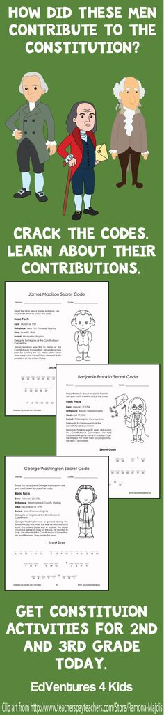 Printable activities perfect for 2nd and 3rd graders to use on Constitution Day, or during Constitution Week or any time you teach the Constitution to kids.