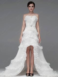 A-line Strapless Organza Satin Chapel Train White Bow Wedding Dresses at Pickeddresses.com