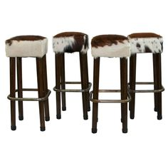 Cowhide Bar Stools Set 4 by Tiger Lilys
