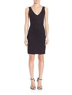 L'AGENCE Jennifer V-Neck Dress - Black - Size