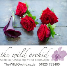 Red rose buttonholes for the Best Man and Ushers. For the groom a black calla lily with looped bear grass.