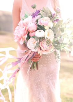 Ethereal pastel blush bouquet: Photography : Kay English Photography Read More on SMP: http://www.stylemepretty.com/little-black-book-blog/2016/03/17/ireland-sunset-inspired-wedding-inspiraton/