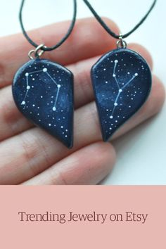Two personalized hand painted necklaces with Zodiac constellations. These two halves of heart are great gift on your Anniversary, Christmas or other Holidays. When you will make your purchase choose…MoreMore Diy Jewelry, Handmade Jewelry, Jewelry Design, Jewelry Making, Unique Jewelry, Jewelry Supplies, Recycled Jewelry, Jewlery, Jewelry Necklaces