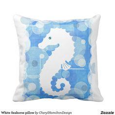 White Seahorse pillow
