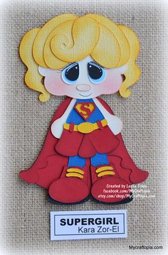 Supergirl Super Hero Girl Premade Scrapbooking Embellishment