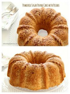 Powdered Sugar Pound Cake with Pecans: With its fine crumb and almost candy-like pecan-studded shell, this is pound cake gone fancy. #shockinglydelicious #bundtcake #pecanbundtcake #bundcaketrecipe #ChristmasSweetsWeek