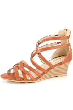 """""""Jamea"""" Strappy Low Wedge Sandals - Camel Low Wedge Sandals, Low Wedges, Fall Shoes, Camel, Footwear, Accessories, Flow, Music, Clothes"""