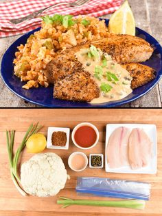 """Rustle up a meal with beaucoup flavor without going whole hog on calories. Cajun spice adds a touch of fiery flavor to tender tilapia fillets, and our innovative cauliflower """"jambalaya"""" saves a slew of carbs without cutting any of the taste. Served with a quick-and-easy remoulade, this is the perfect weeknight meal to fill you up without weighing you down."""