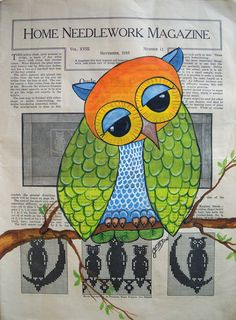 FOLK ART OWL Bird OLD Vintage ANTIQUE Paper ORIGINAL Painting _JULIE ELLISON