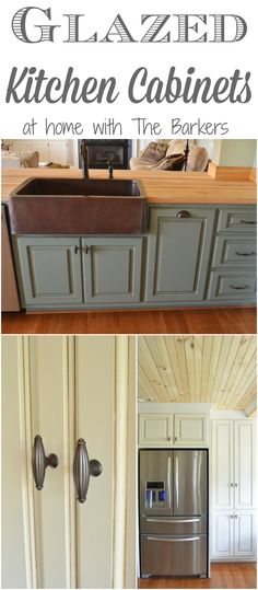 Glazed Kitchen Cabinets are a great way to showcase the details in beautiful new kitchen cabinets, complete with farmhouse style charm. Kitchen Redo, Kitchen Dining, Kitchen Ideas, Kitchen Designs, Kitchen Tips, Kitchen Layouts, Kitchen Inspiration, Kitchen Furniture, Kitchen Storage