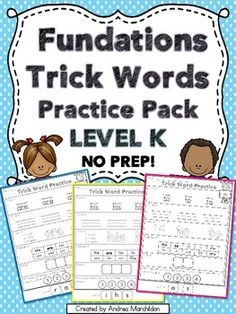 Fundations Compatible Trick Words Practice Pack LEVEL K NO PREP. Great practice for kindergarten students learning new sight words or trick words! Small Group Reading, Student Reading, Sight Word Activities, Kindergarten Activities, Wilson Reading, Language Development, Word Work, New Words, Morning Work