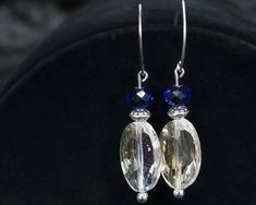 Clear and Blue Beaded Dangle Earrings on Silver Ear Wires by VisualJourneysStudio on Etsy
