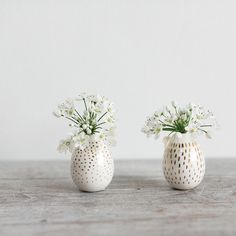 White glazed ceramic peep bud vases with hand painted gold line or dot accents