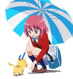 Minori Kushieda y un minitigre. Toradora!