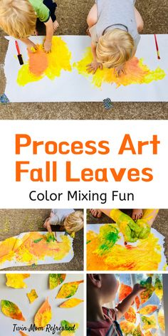 Toddler Fall Painting Activity that's quick to set up and will have toddlers or preschoolers mixing paint with this fun sensory play art activity. An easy fall or autumn activity for toddlers. Fall Arts And Crafts, Preschool Arts And Crafts, Fall Preschool, Fall Crafts For Kids, Preschool Ideas, Kids Crafts, Autumn Crafts, Daycare Ideas, Thanksgiving Crafts