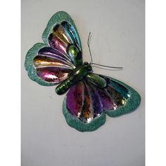 """Contemporary Metal Wall Art """"Glitter Butterfly Green"""""""