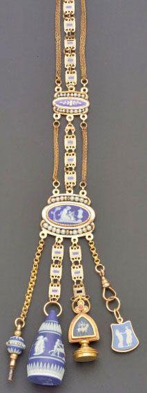 Chatelaine; Antique, Blue Jasperware & Enamel, Gold Chain, Seals, Key, Charm, 11 inch. Circa 1808 -1908