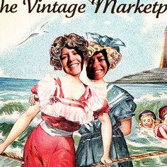 "Lisa and Rita having way too much fun with our photo opp! June TVM 2012 ""Vintage Seaside Summer"" theme"