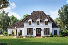 Double doors in this French Country house plan open to reveal a massive great room with a big fireplace and views of the beamed kitchen and the dining room.In the kitchen, the giant island has seating for six, an extra sink and an under-counter wine fridge.Even the walk-in pantry is huge, making this kitchen a chef's delight.Bedroom 4 is the ideal guest suite set off by itself.Bedrooms 2 and 3 have walk-in closets and share a connected bathroom.The magnificent master suite is all the way in…