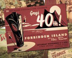 Tiki-themed 40th Birthday Invite